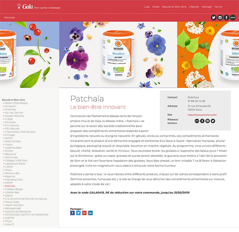 Patchaïa : Gala web carnet d'adresses