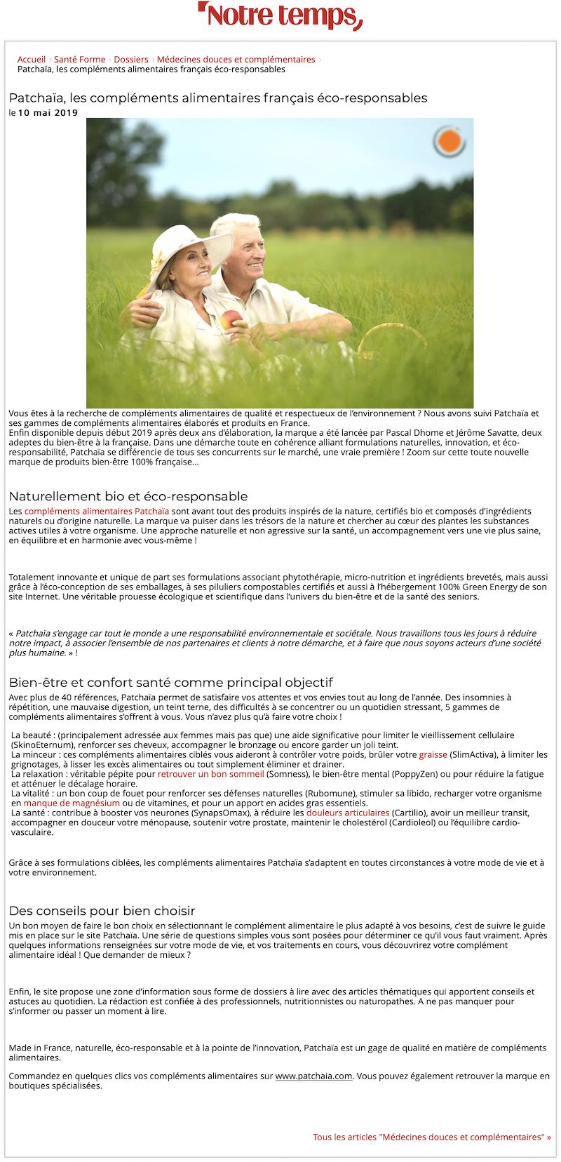 Patchaïa dans Notre Temps Dossier Santé mai 2019