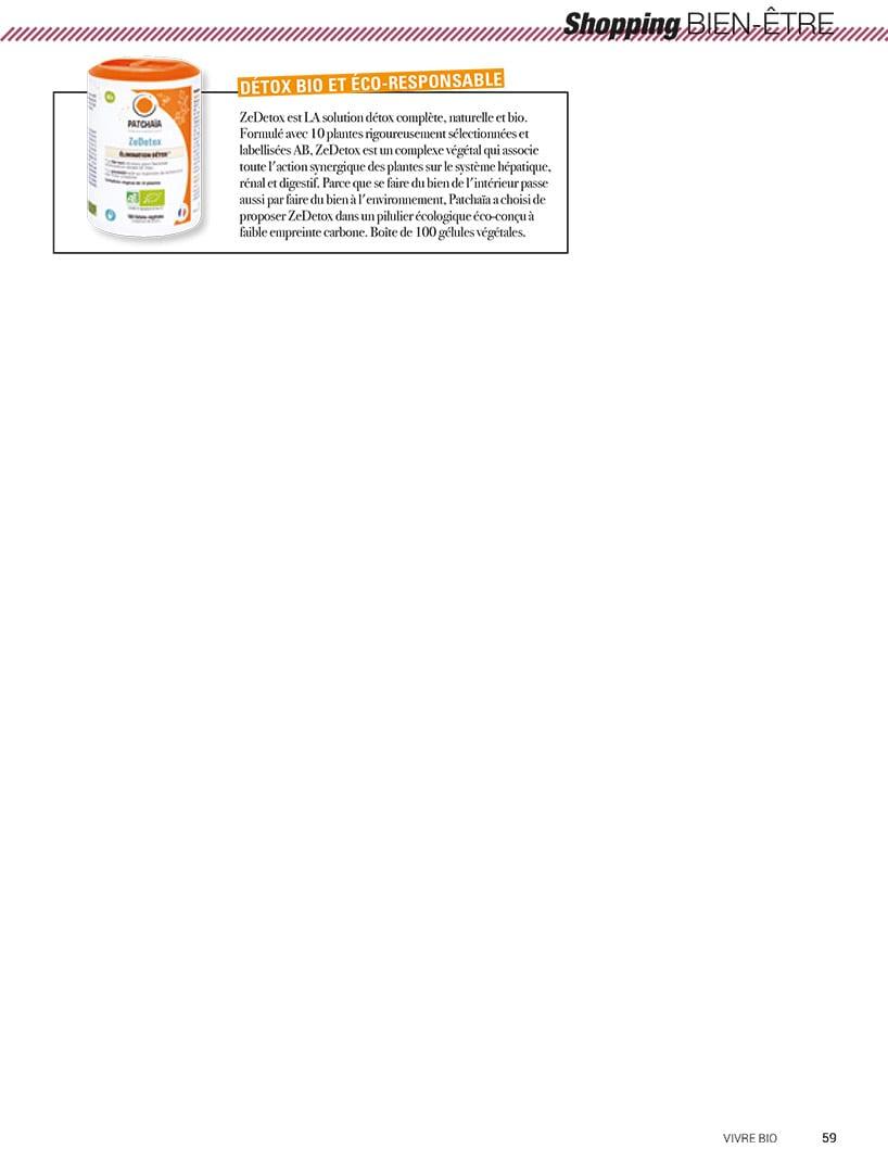 ZeDetox est LA solution détox complète dans Vivre Bio N°61